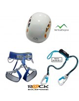 KIT FERRATA 2 Arnés + Disipador + Casco Blanco