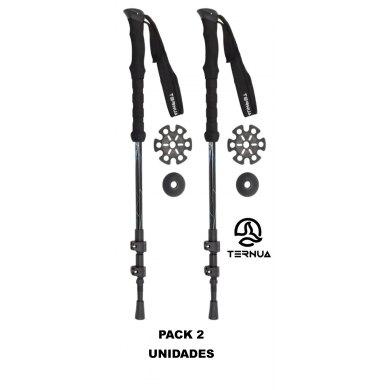 Bastones de Trekking Ternua KANGRI POLE Black Pack 2 Unidades - TERNUA KANGRI POLE BLACK