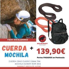 Cuerda Mammut Crag 9,8mm 70m + Mochila Porta Cuerda Mammut