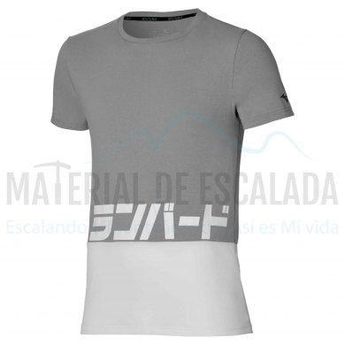 Camiseta manga corta   MIZUNO Katakana Gris/blanco