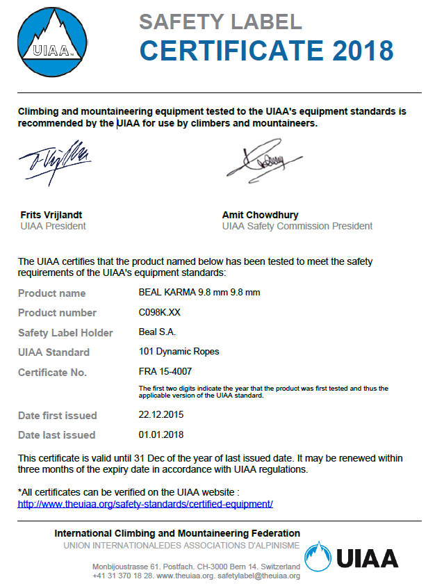 certificacion UIAA Beal Karma