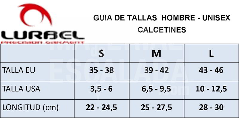 GUIA DE TALLAS CALCETINES LURBEL