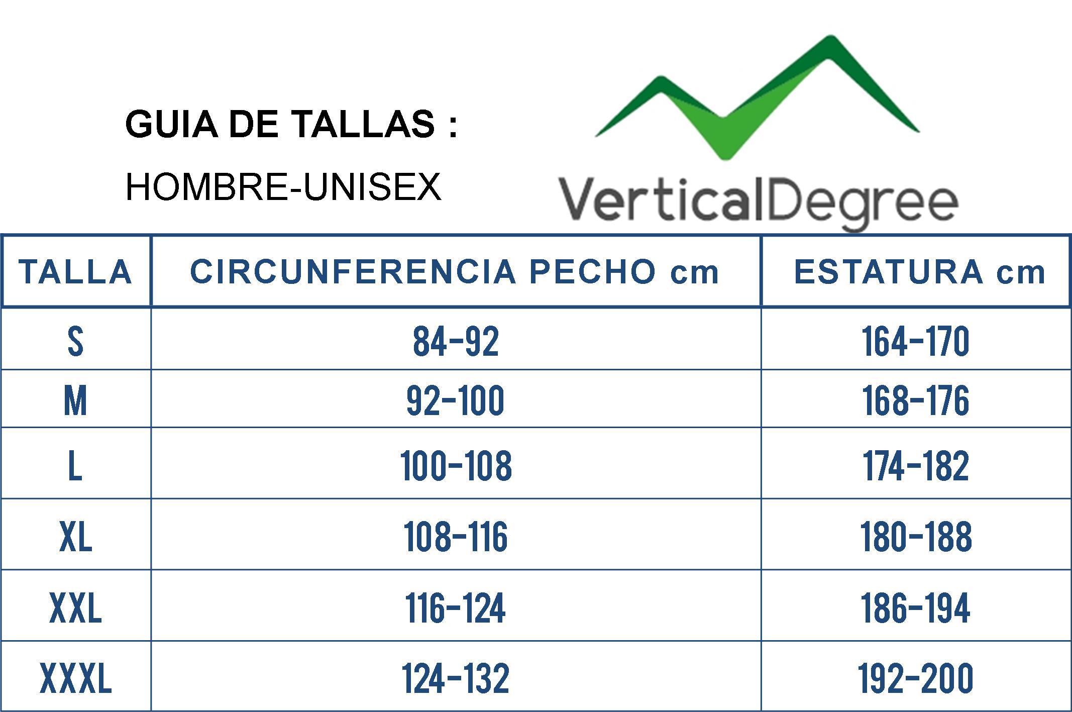 GUIA DE TALLAS HOMBRE VERTICAL DEGREE